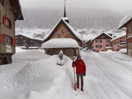 Shovelling a path to our entrance