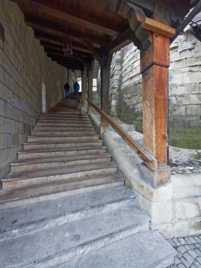 Stairs to lausanne cathedral
