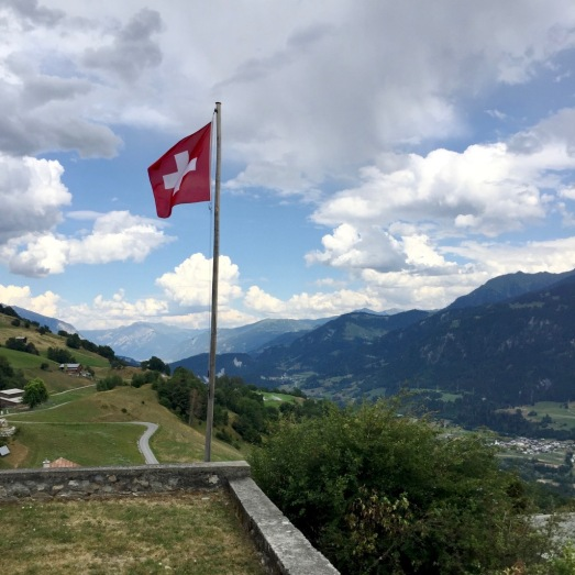 View down the Rhine valley toward Chur (to the left of flag pole).