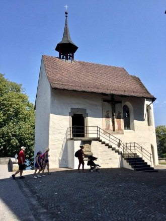The Lady's chappel with murals outside and inside.